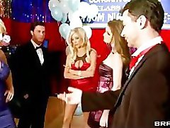 Three big-tit blonde highschool sluts start orgy at prom party