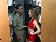 Sexy office slut takes on three dicks in the stock room at once