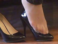 asiatische abgespritzt (nylon) Füße shoeplay mit high heels