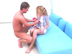 Teen in pigtails gets anal creampied