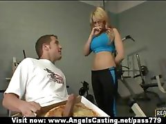 Hot blonde in the gym does blowjob for pizza guy with pizza on cock