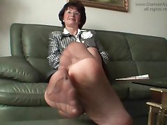 Aunty's smelly nylon feet in my face!