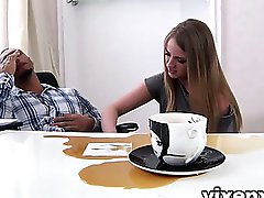 Hot secretary Milana Fox rocks her boss's big black dick