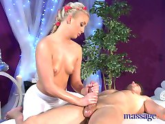 Massage Rooms Young blonde teen rides big cock before intense orgasm