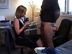 A ball tugging CFNM Handjob by blonde wife