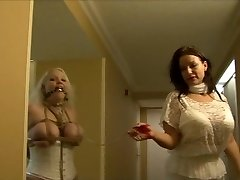 Full figured girl hogtied in milky lingerie