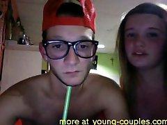 American college couple blowjob in dorm