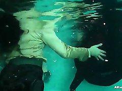 Three very horny pool babes love splashing around in water