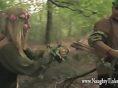 Poor maid Tinkerbell gets her ass and pussy ruined in woods by Knobinhood