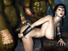 Mal Ogres Baiser une 3D Princesse!