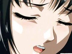 Nervous coed anime virgin with huge knockers