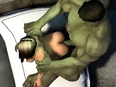 THREE DIMENSIONAL cartoon babe gets pummeled outdoors by The Hulk