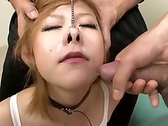 Blonde Japanese boxer gets jizm up her nose!