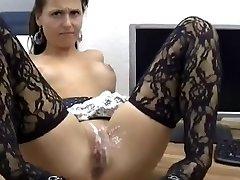 セクシー 女の子が肛門、商品に覆われたJizzす!