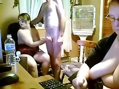 Spanish young and aged threesome in kitchen - webcam