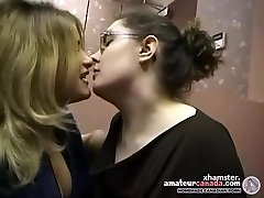 Two chubby first-timer lezzies make out and kissing in office