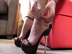 Interracial slut footjob action
