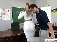 Extremely sexy humungous racked blonde teacher was fucked right on the table
