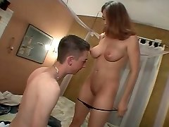 Youthfull brunette takes jism in shaved pussy