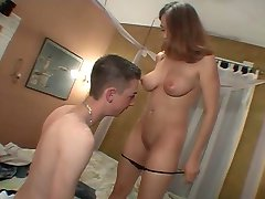 Young brunette takes cum in shaved pussy