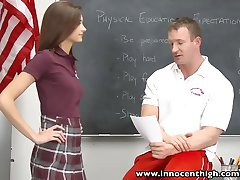 innocent high small tits schoolgirl teen rides teacher cock