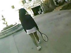 Threesome on tennis court