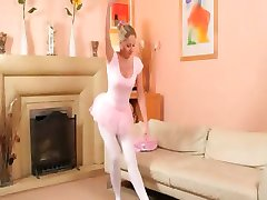 Sexy mom in white pantyhose pose