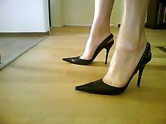 सेक्सी काले Slingback ऊँची एड़ी के जूते