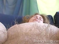 Pale Skin Fatty Mellisa with Hairy Blonde Pubes Big Bush BBW Masturbating
