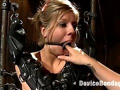 In the final chapter of Chastity Lynn's Live Show, she is suspended spread eagle with speed rail and our ratchet strap system, leaving her cunt and as nice and exposed. Her arms are slipped into opera length leather bondage mitts and the drool from the open cone gag slips down her breasts. Mz Berlin steps in and warms her up with an extra special cunt flogging. Audrey Rose is then dragged in with elbows together bound in metal and required to service both Chastity's ass and cunt at the urging of Mz Berlin. Claire adds the cherry on top by hammering Chastity's ass with the flogger and milking what seems to be a million orgasms from this cum begging cunt for the finale.