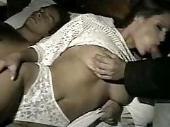 wife gets fucked in all holes while husband is away