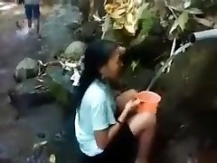 Indonesia, ragazza, natura, esterno doccia