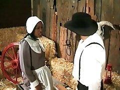 Amish agricoltore annalizes un nero da cameriera