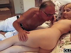 18 yo girl kissing and tears up her step dad in room