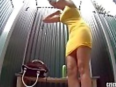 Czech Pool Amazing Teen with Firm Tits Shower Voyeur