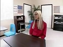 Blonde teen with glasses drills tutor and gets cum on her glasses