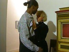 German Blonde MILF & Freaky Black Guy