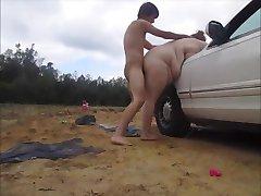 Problemi sa strojem,ljubazno stranac snima moj auto za seks unutarnja ejakulacija