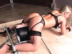 Machine fucked hot sex slave cumming hard