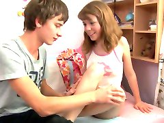 Young teen sister moans riding a young cock