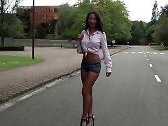 slut crushing in high heels some fruit in sexy minishort.