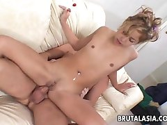 Very hot blonde bitch taking it up her asshole