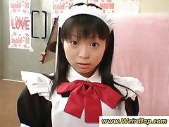 Petite Japanese maid gets punished for being bad while all watch