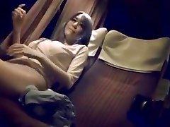 Mature woman on night bus