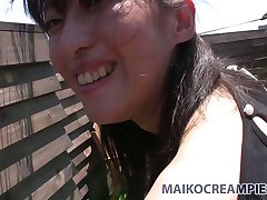 Ugly Asian brunette Miki Sugimoto blows cock and fucks doggy style outside