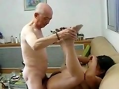 Chinese Granny Neighbor Gets Drilled by Chinese Grandpa