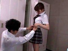 Moe Sakura, schoolgirl in heats, craves for
