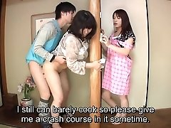 Subtitled Japanese risky sex with voluptuous mommy in law