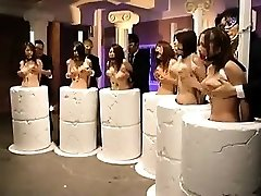 Vulnerable Oriental honies getting their big hooters massaged