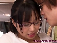 Harmless asian firsttimer geek boning in glasses